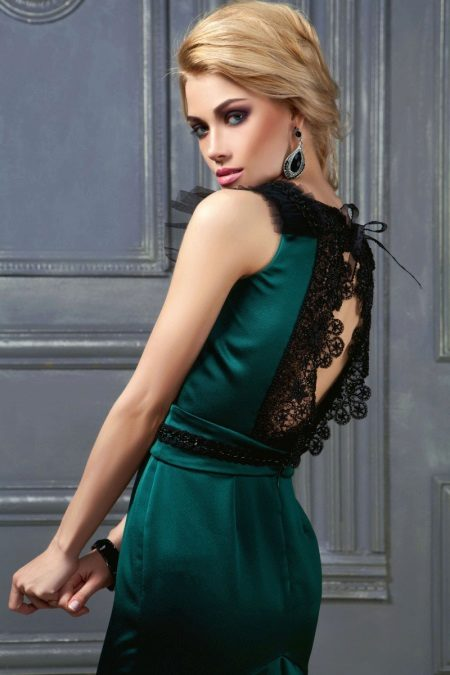 Evening green dress with lace on the back