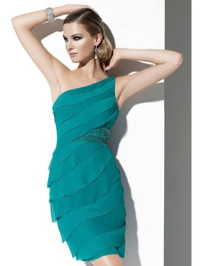 Evening dress green mini on one shoulder