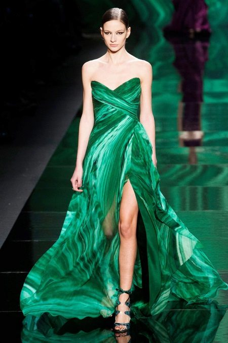 Evening dress with a combination of shades of green