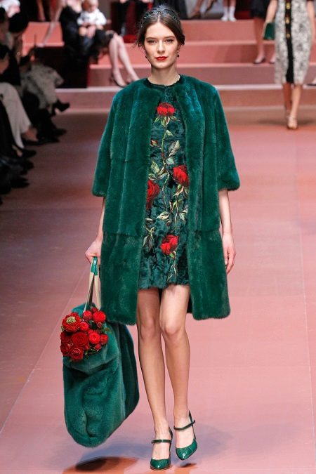 Evening green dress from Dolce and Gabbana