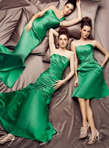 Evening green dress by Tariq Edis