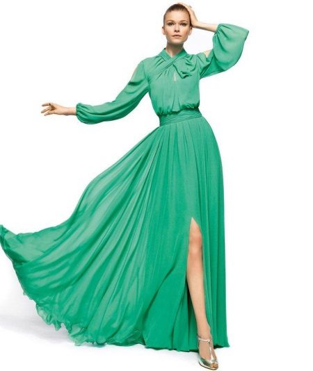 Green evening dress with long sleeves