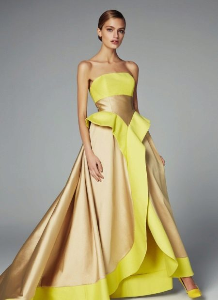 Fluffy yellow evening dress