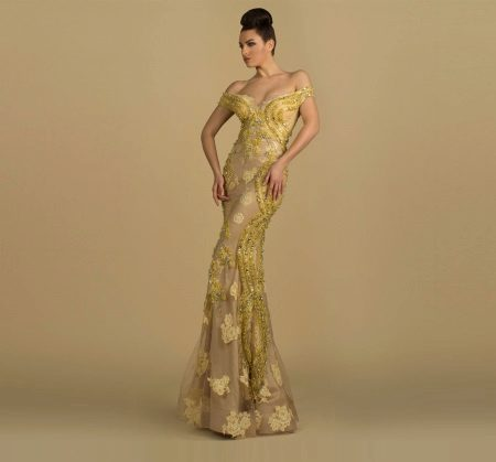 Yellow pattern on a beige base evening dress
