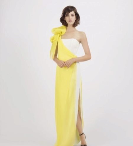 Yellow and white evening dress