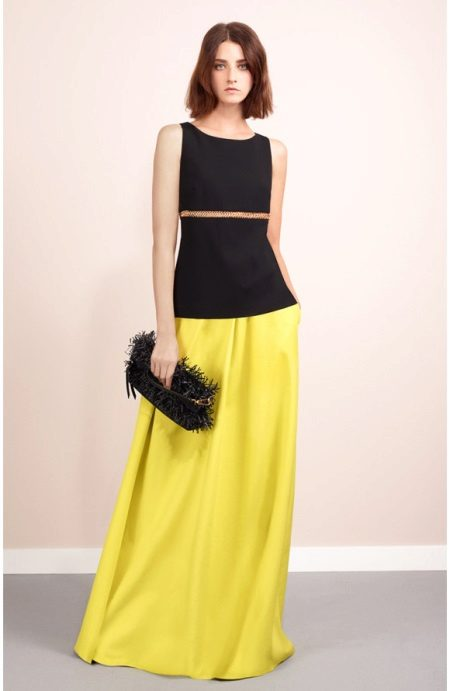 Evening suit with a yellow skirt