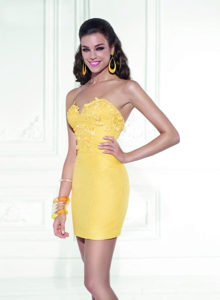 Evening yellow dress short from Tariq Ediz
