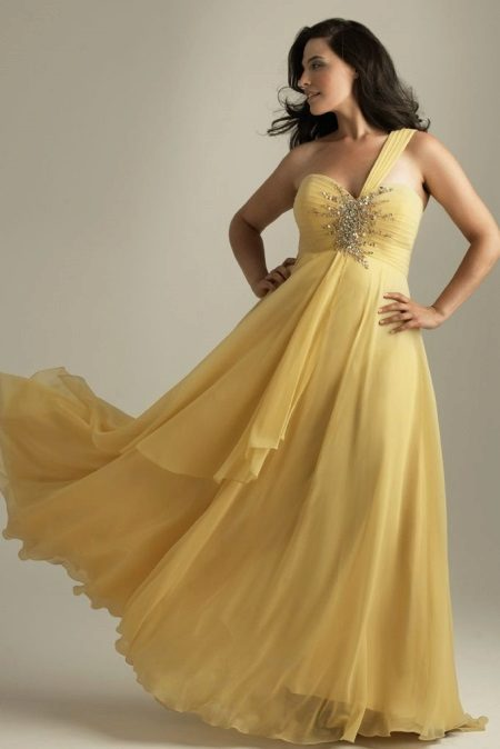 Yellow evening dress for full