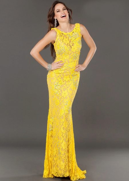 Lace yellow evening dress