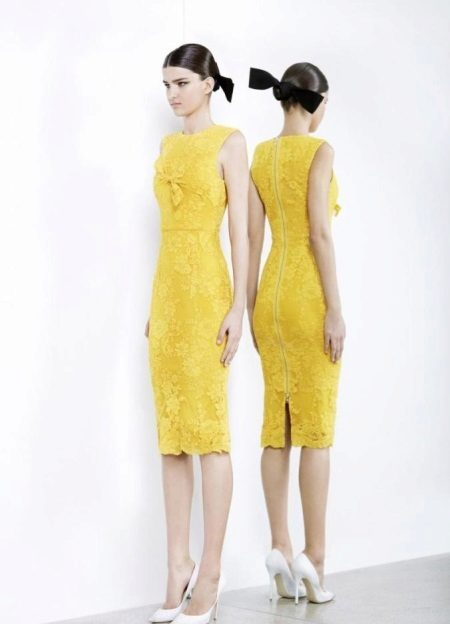 Yellow Lace Evening Dress