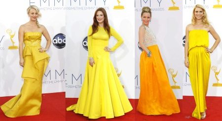 Yellow evening dresses of stars