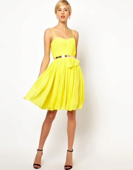 Short yellow evening dress