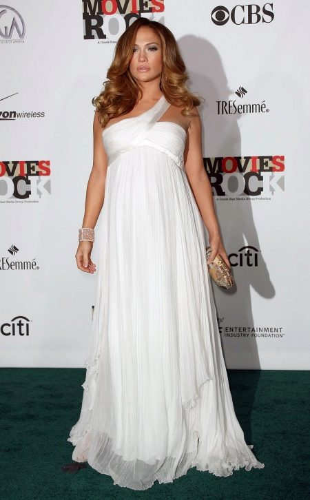 White evening dress for pregnant women