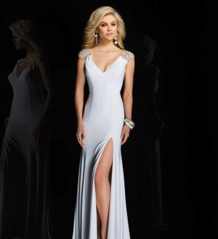 White evening dress by Tony Bowles