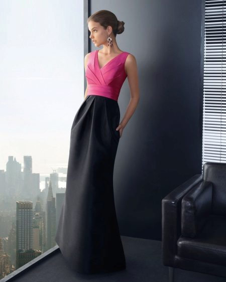 Black and pink evening dress