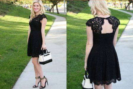 Short lace black evening dress