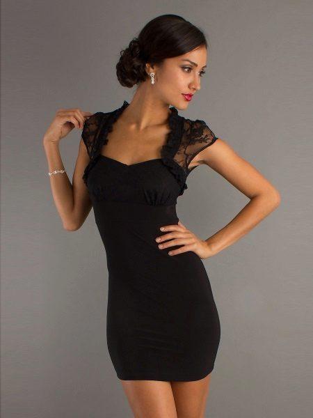 Short black evening dress with a bolero