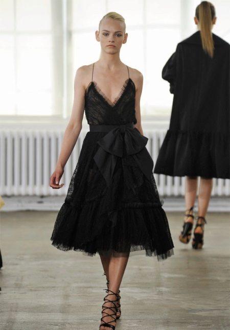 Black Midi Lace Evening Dress