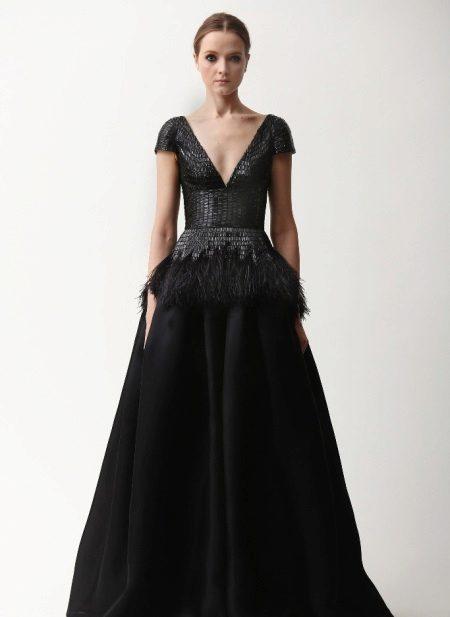 Black evening dress with plunging neckline