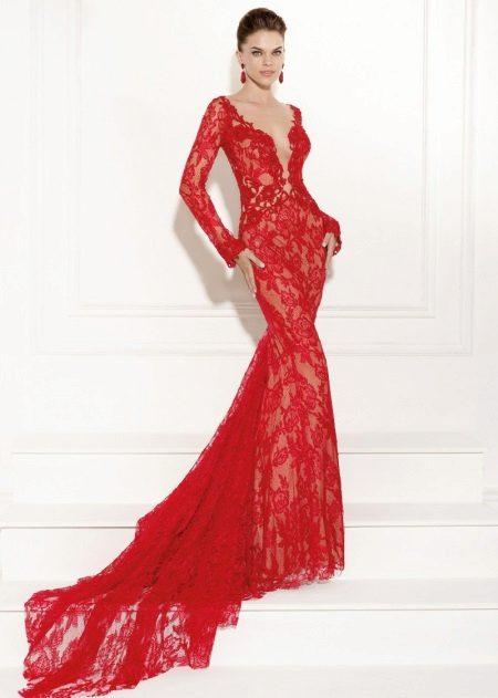 Rød blonde kjole fra Tariq Ediz aften