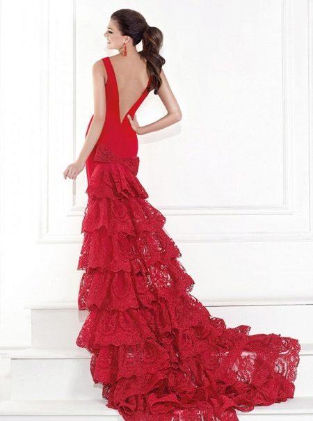 Rød kjole havfrue aften med blonder tilbage