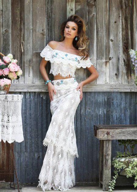 Kevyt ilta valkoinen pitsi mekko