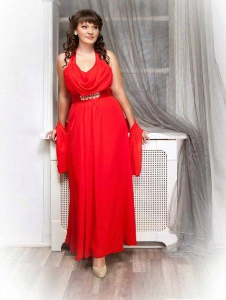 Vestit elegant de nit vermell a terra per complet