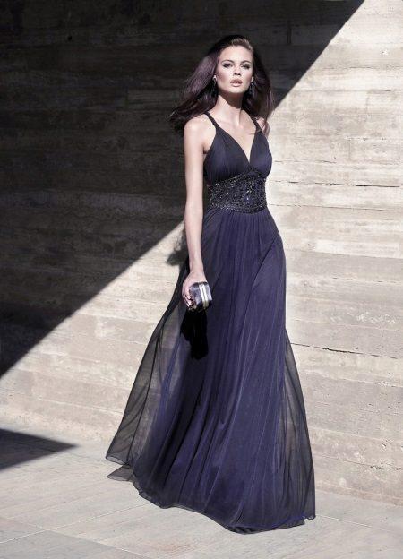 Azul vestido de noite barato para o chão