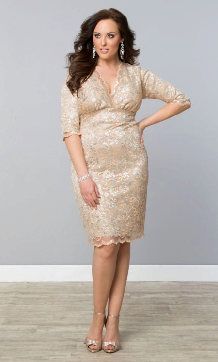 Vestit de núvia de punt de color beix