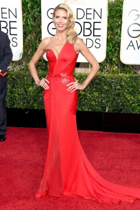 Ilta-punainen mekko Heidi Klum