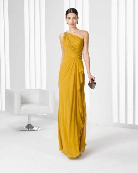 Mostarda cor vestido de noite 2016