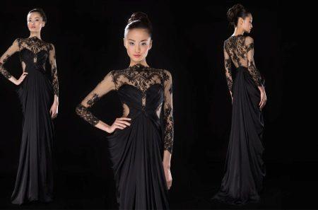 Vestido de noite preto com renda