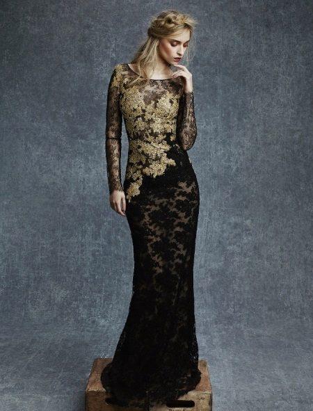 Vestido de noite de renda com ouro