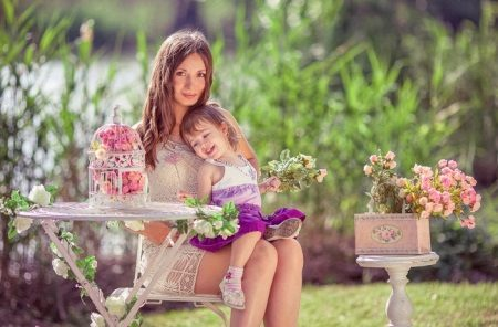 Photoshoot-äiti ja lapsi