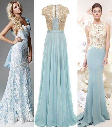 Blue dresses na may ginto