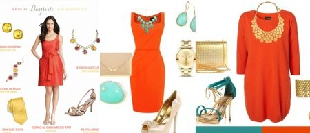 Mga accessories sa ilalim ng orange dress