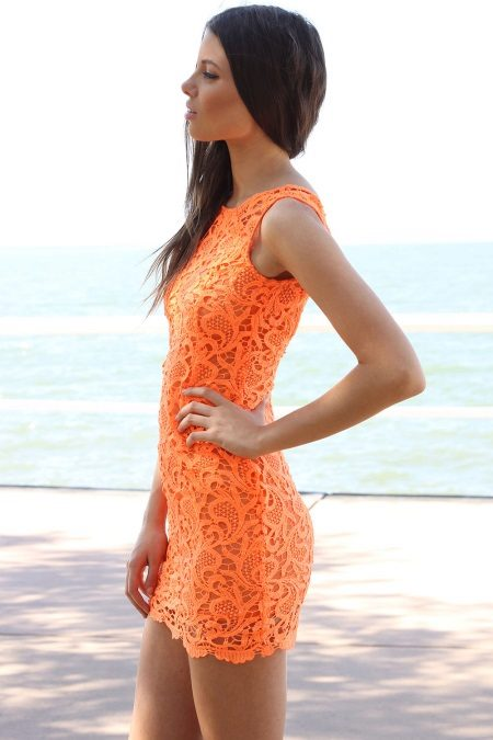 Maikling lace orange dress