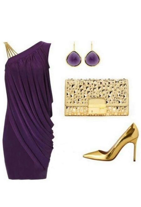 Accessories for eggplant dress