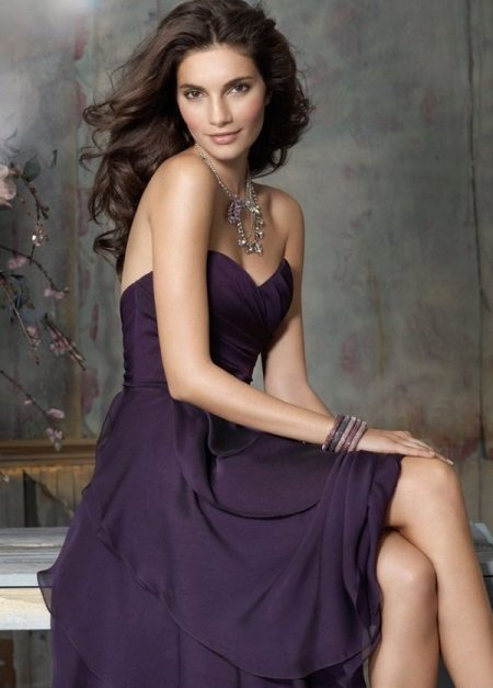 Accessories in tone to eggplant dress
