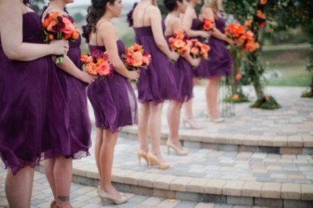 Bridesmaids in eggplant dresses