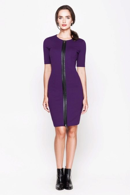 Eggplant Dress with Black Zip