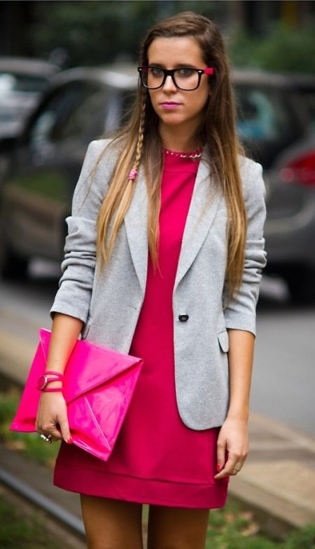Fuchsia dress in combination with gray