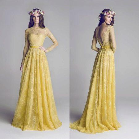 Very beautiful mustard lace dress
