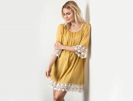 Mustard dress for blondes of muted color