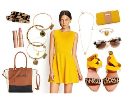 Accessories and shoes for a mustard dress