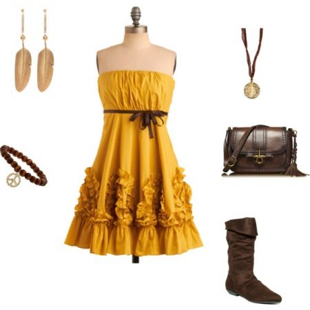 Mustard dress with brown