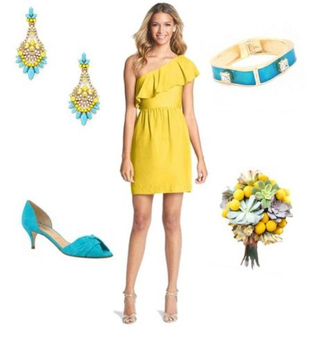 Mustard dress with turquoise sea green accessories