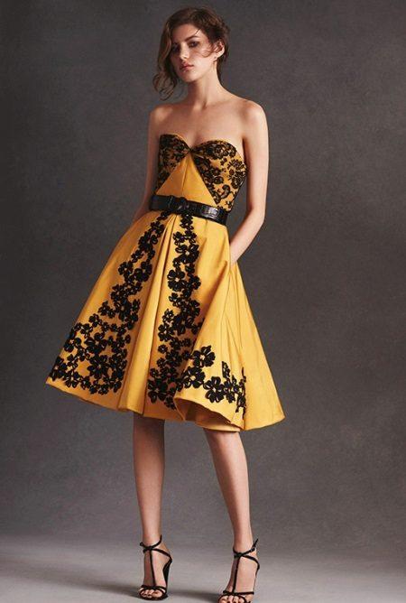 Mustard dress with black