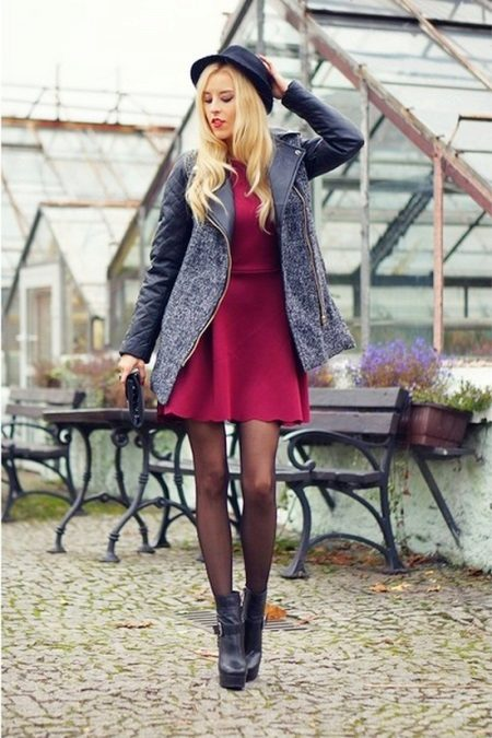 Dress crimson in combination with gray