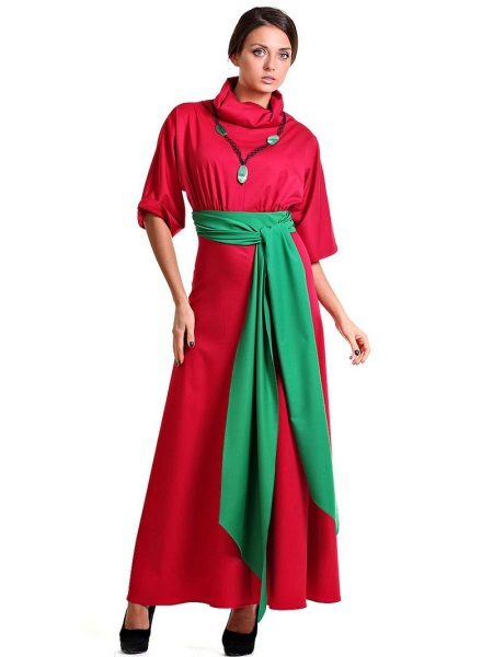 Crimson dress with green belt and necklace